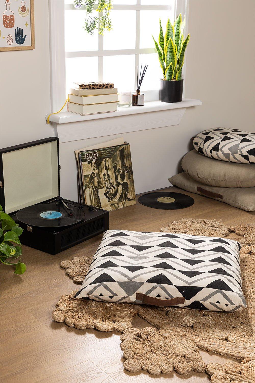 Coussin de sol carré en coton Barry, image de la galerie 1