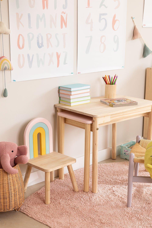 Table en bois à rallonge (60-100x38 cm) Kandy Kids, image de la galerie 1