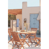 Set of Folding Garden Table and 4 Chairs in Teak Wood Pira, thumbnail image 1