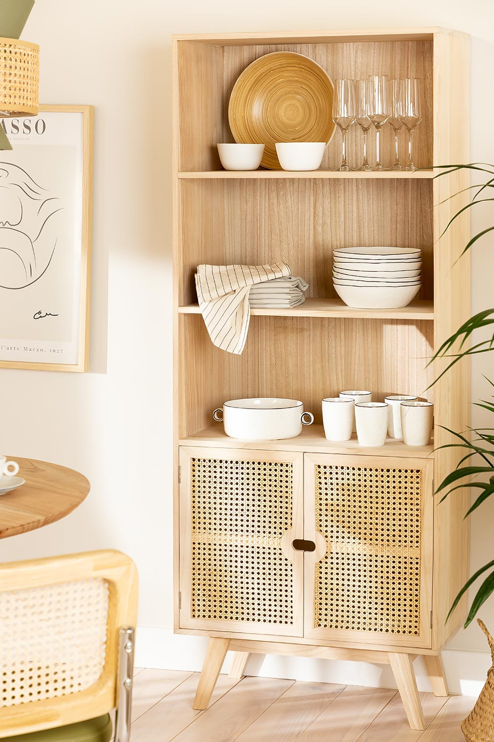 Wooden Highboard with 2 Shelves Ralik Style, gallery image 1