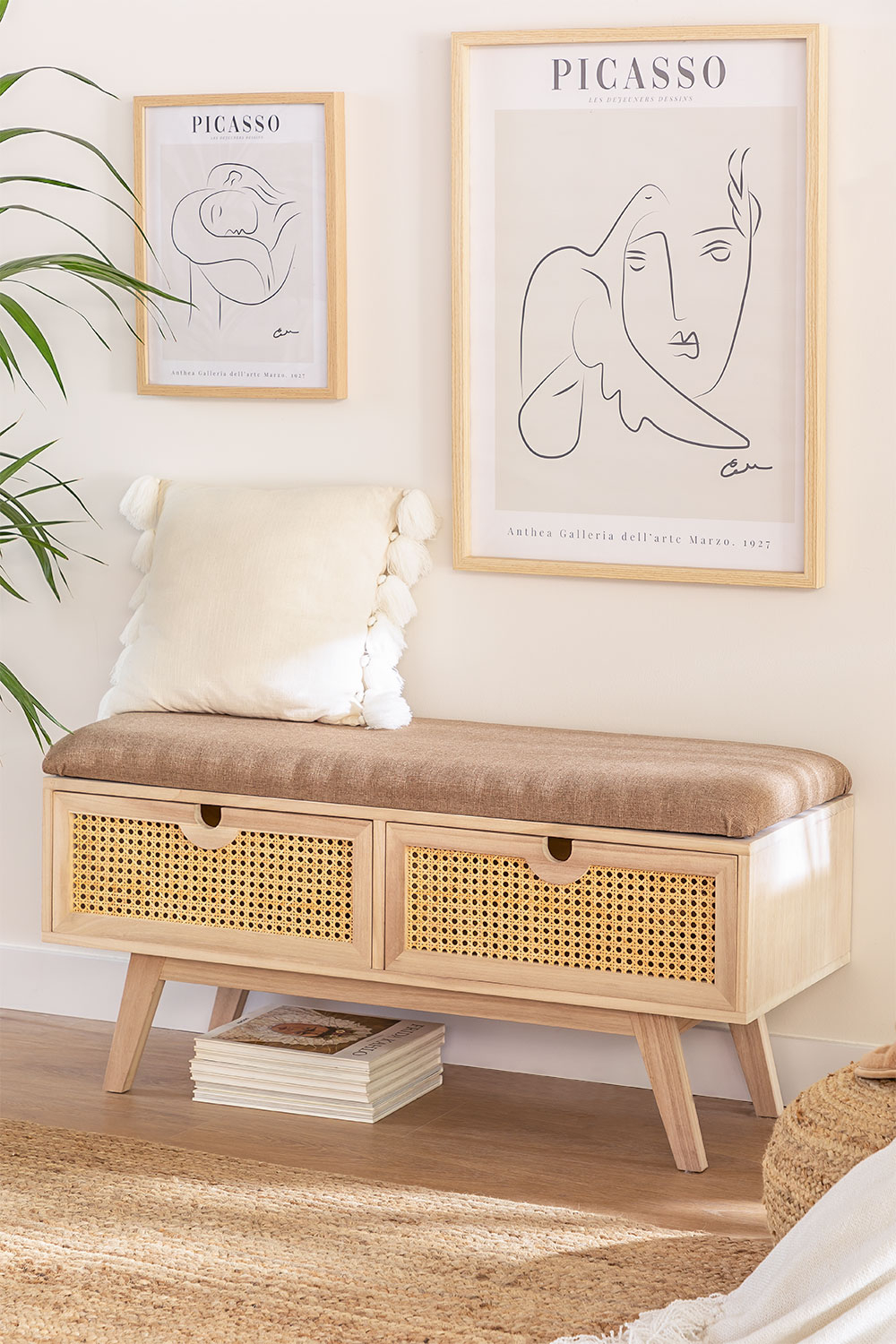Wooden Bench with 2 Drawers Ralik Style, gallery image 1