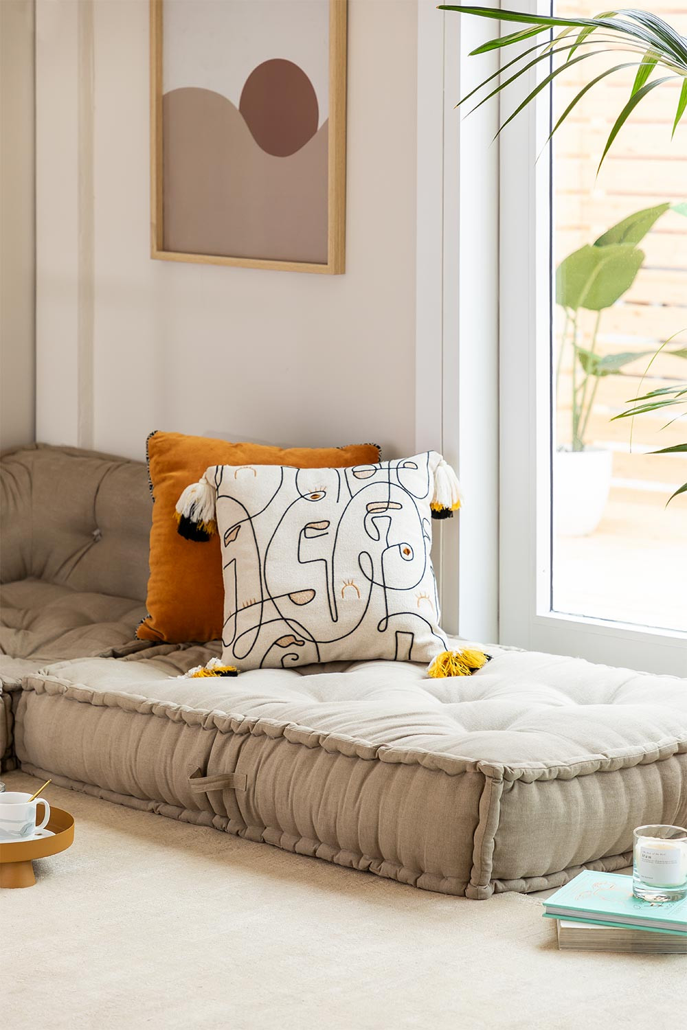 Double Cushion for Modular Sofa in Cotton Dhel, gallery image 1