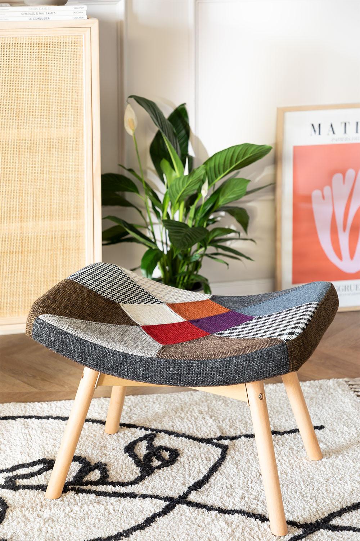 Morris Patchwork Upholstered Footstool , gallery image 1