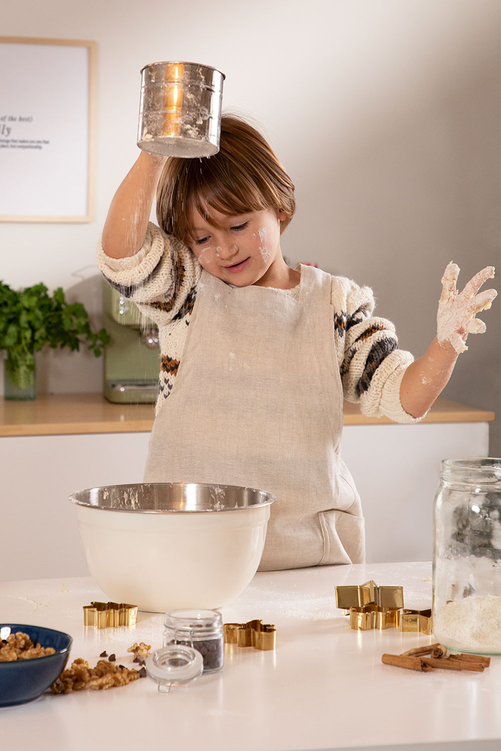 Linen and Cotton Apron Violet Kids, gallery image 1