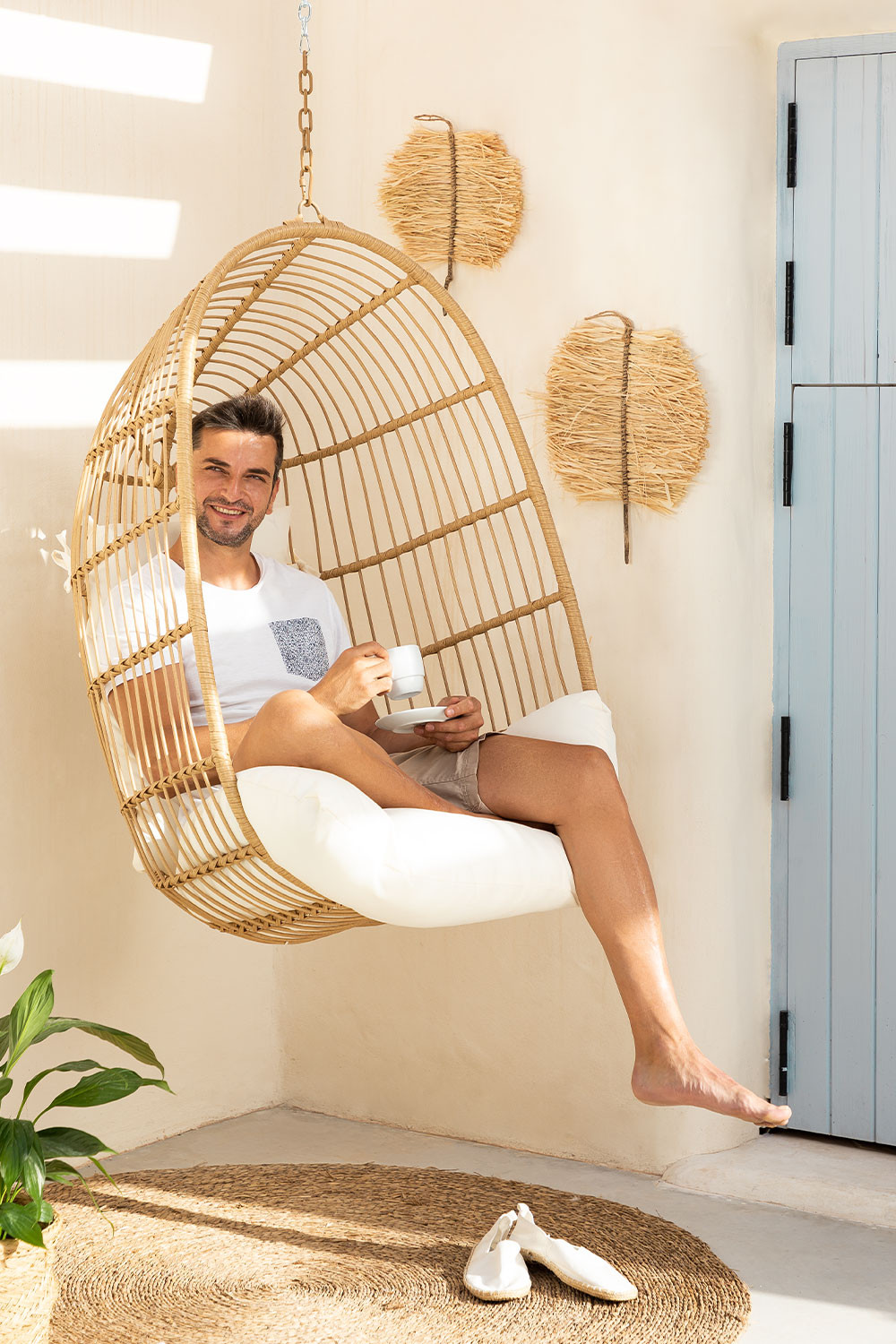 Synthetic Rattan Hanging Hammock Zosky, gallery image 1
