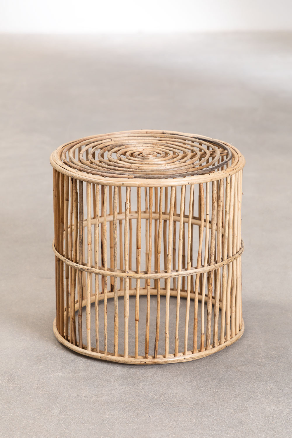 Round Qamish Bamboo Side Table, gallery image 1