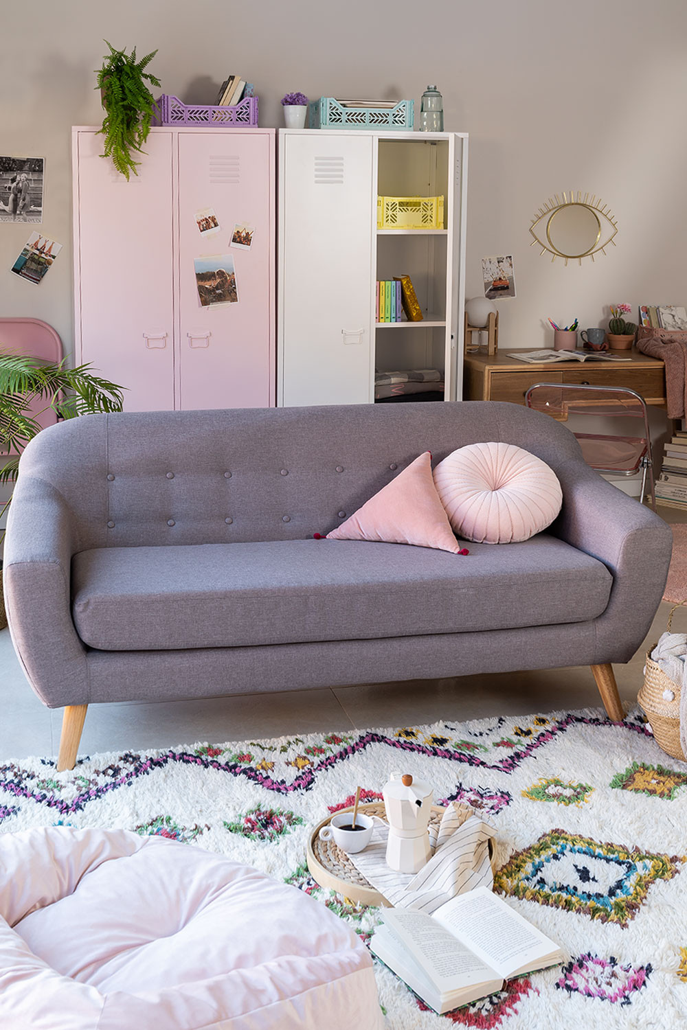 Aktic Three Seater Linen and Fabric Sofa, gallery image 1