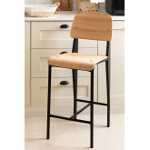 High Stool with Wooden Backrest (67 cm) And, thumbnail image 1