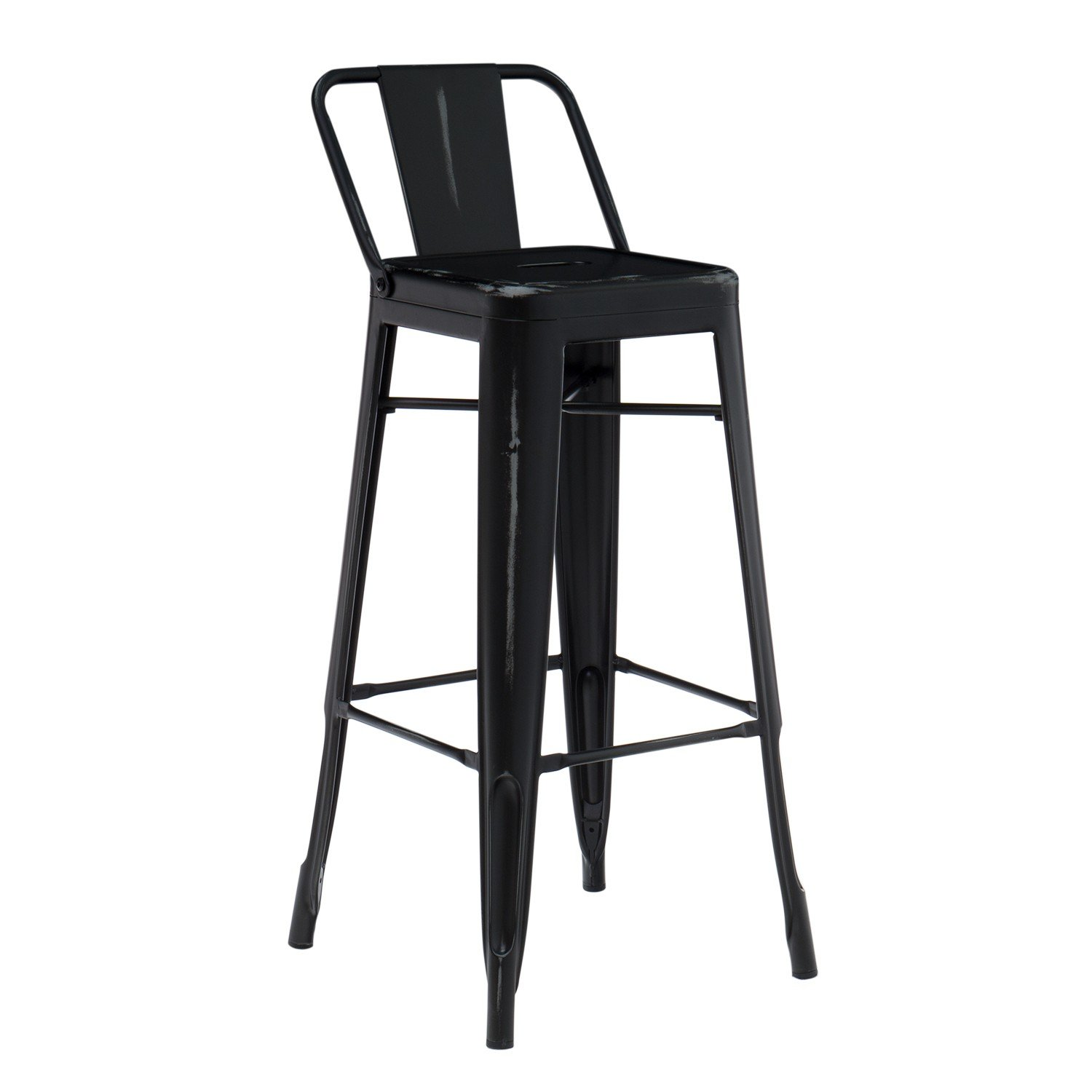 High Stool with LIX Vintage Steel Backrest, gallery image 1