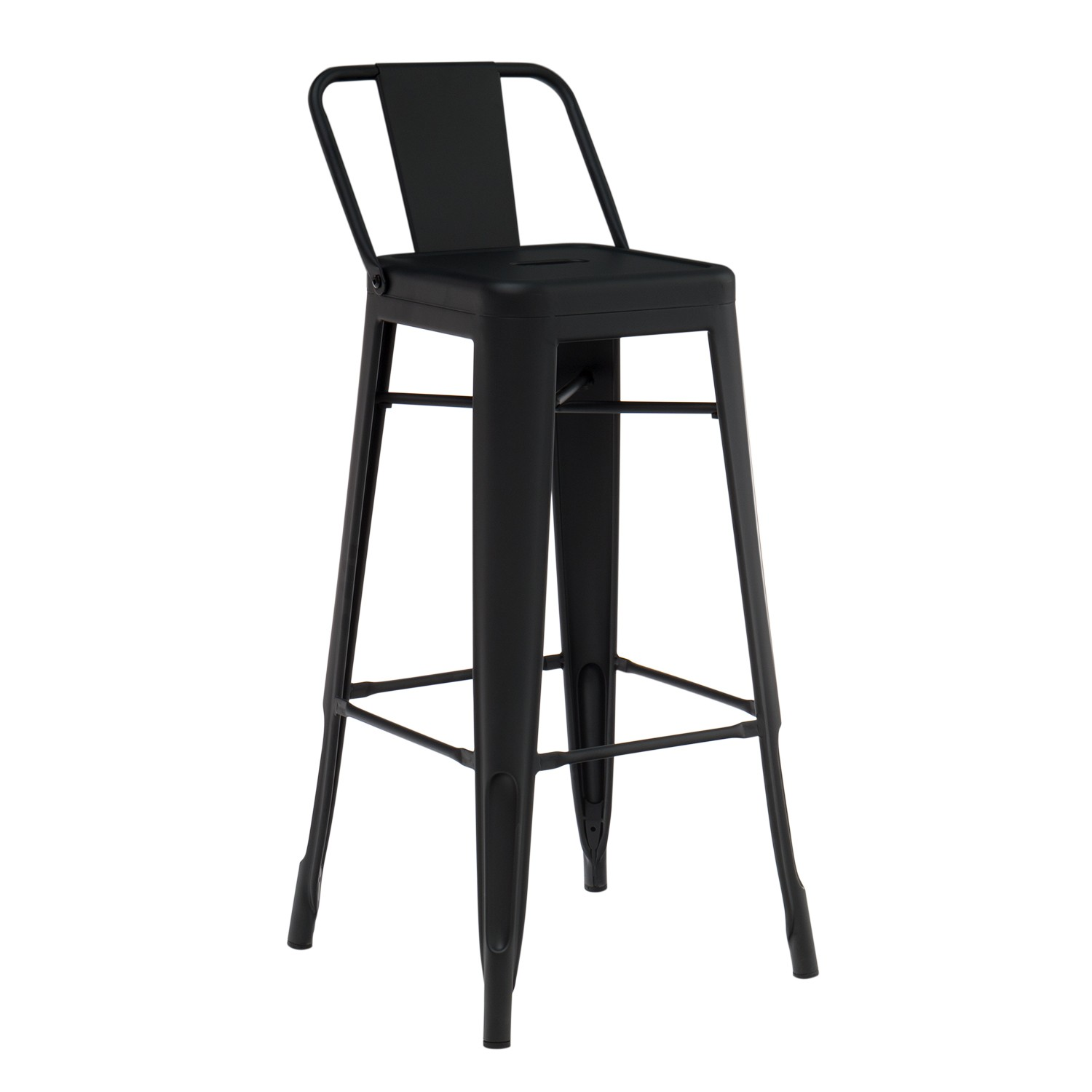 High stool with back in Matte LIX Steel, gallery image 1