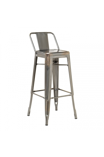 High Stool with back in Brushed LIX Steel
