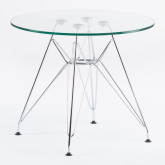 Round Table in Glass and Steel Ø60 cm Brich Scand Kids, thumbnail image 1