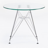 Round Table in Glass and Steel Ø60 cm Brich Scand Kids, thumbnail image 2