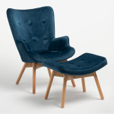Morris Edition Velvet Upholstered Armchair with Footstool, thumbnail image 1