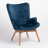 Morris Edition Velvet Upholstered Armchair with Footstool, thumbnail image 2