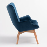 Morris Edition Velvet Upholstered Armchair with Footstool, thumbnail image 3