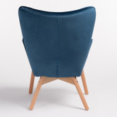 Morris Edition Velvet Upholstered Armchair with Footstool, thumbnail image 4