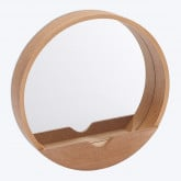 Round Wall Mirror with Wooden Shelf Vern , thumbnail image 1