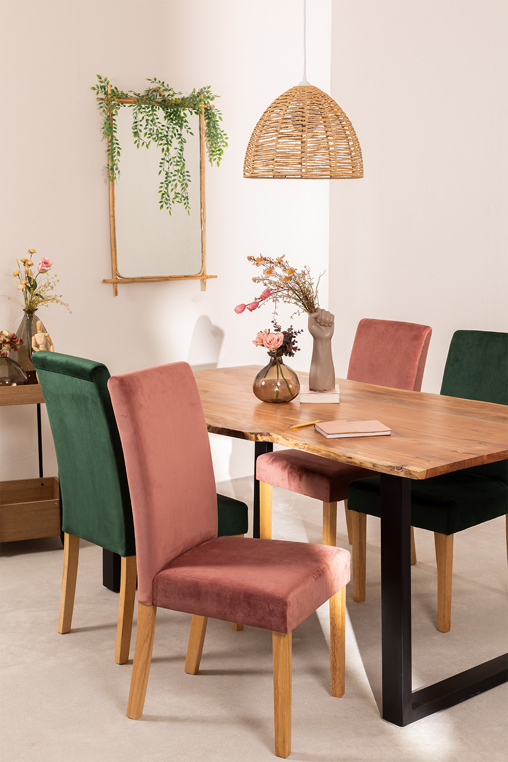 Pack of 2 Velvet Dining Chairs Cindy, gallery image 1