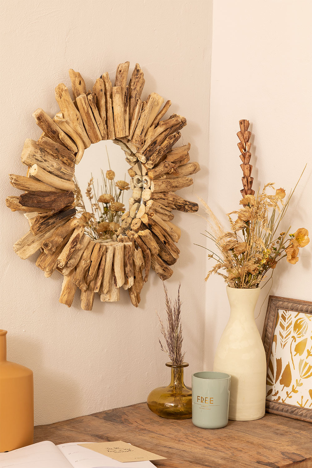 Round Wall Mirror in Wood (Ø50 cm) Laki , gallery image 1