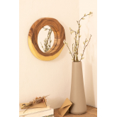 Round Wall Mirror in Wood (33.5x30.5 cm) Vrao, thumbnail image 1