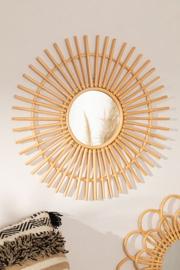 Round Wall Mirror in Rattan (Ø60 cm) Beku