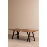 Edeni Stainless steel & Wooden Rectangular Dining Table 200cm, thumbnail image 777293
