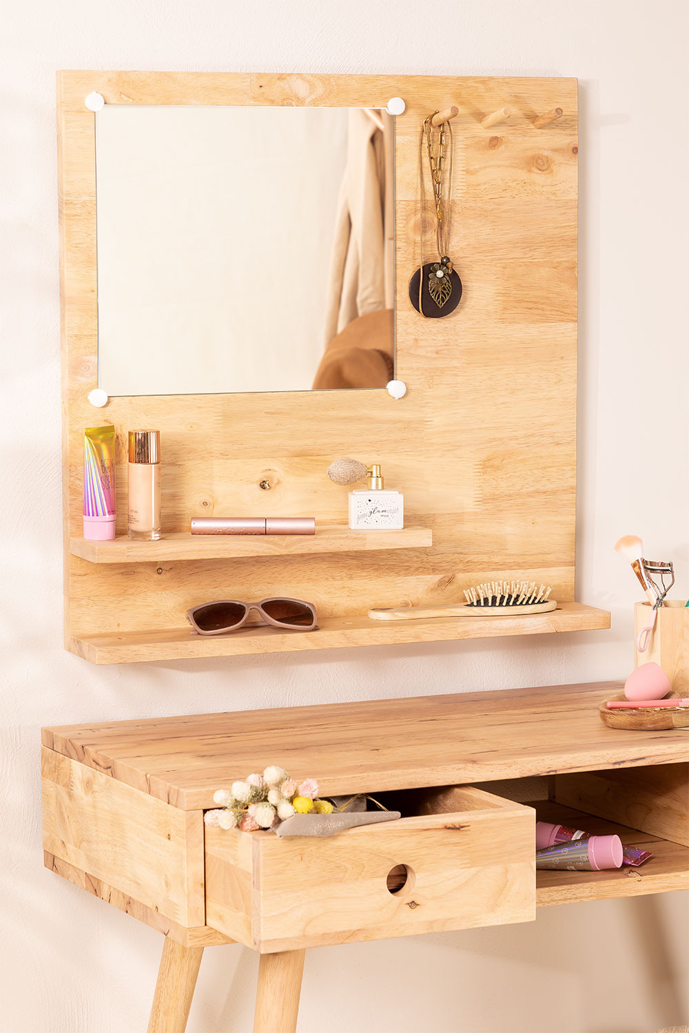 Wall Mirror with Wooden Shelf (60x60 cm) Arlan, gallery image 1