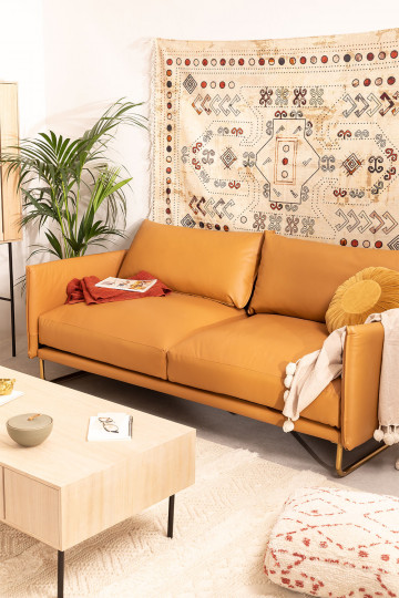 Leatherette 3 Seater Sofa Baldur