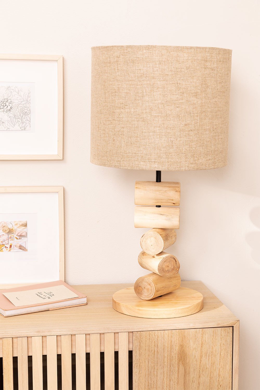 Table Lamp in Linen and Elga Wood, gallery image 1
