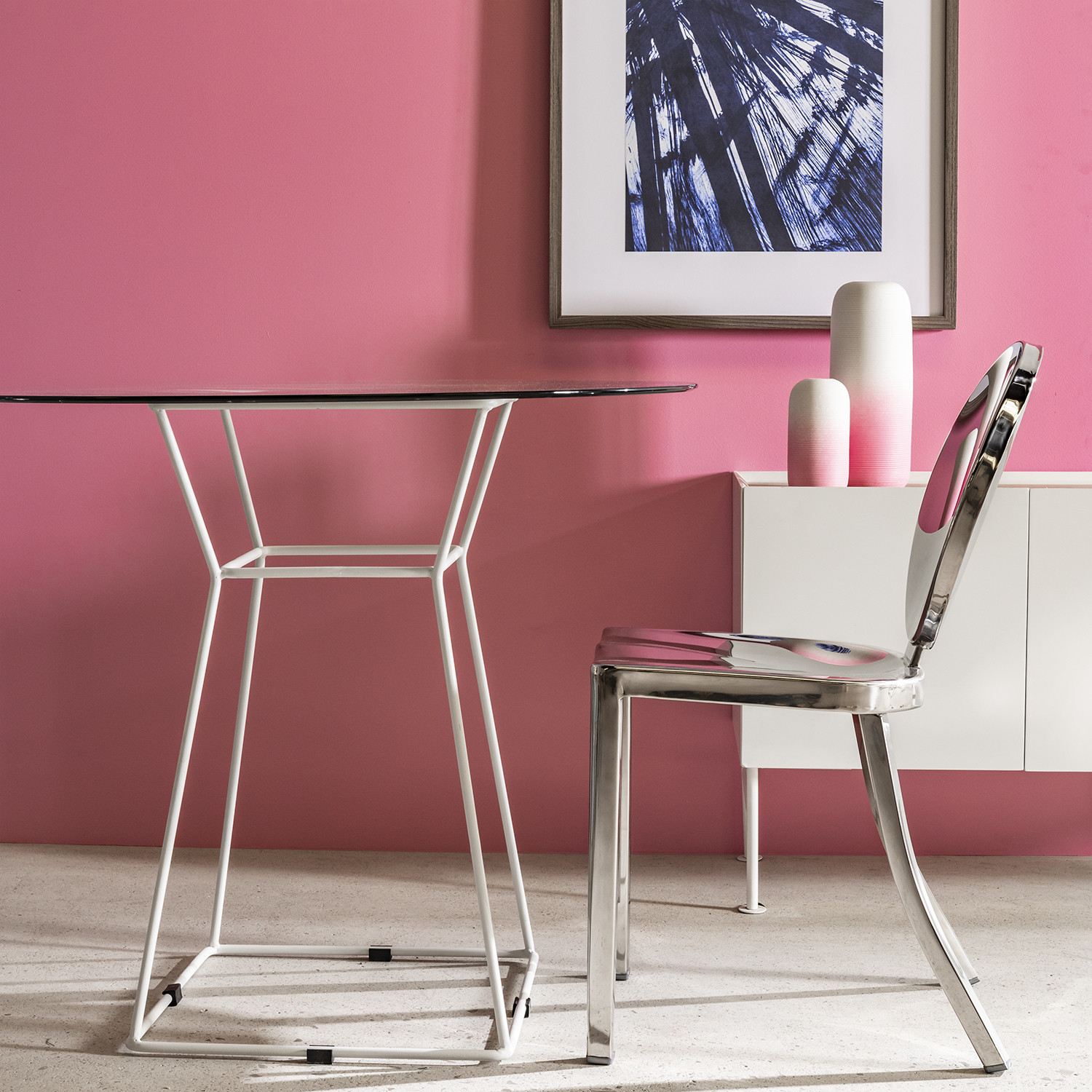 Round Glass Dining Table (Ø90cm) Agda, gallery image 1
