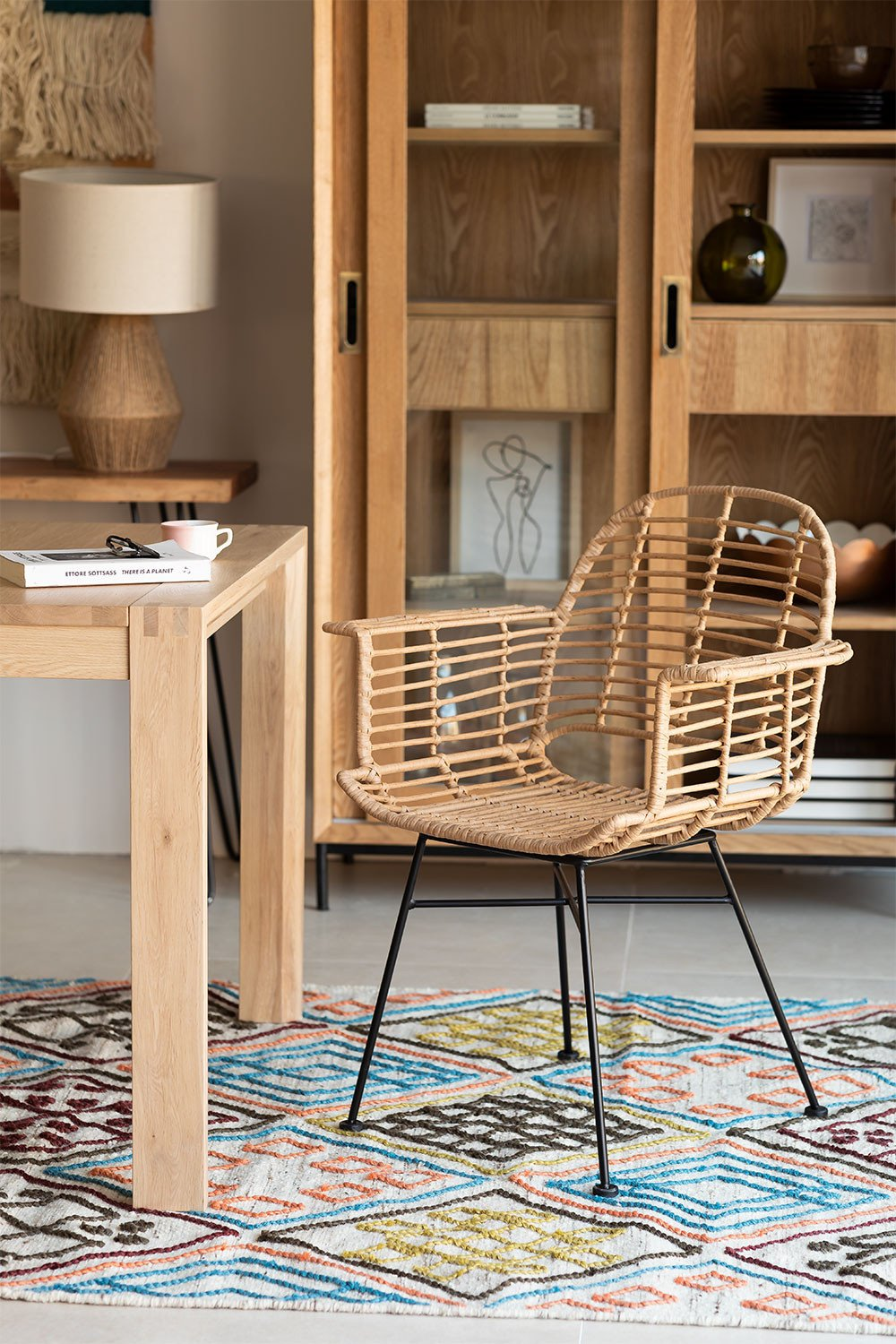 Dining Chair in Synthetic Rattan Mimbar Style, gallery image 1