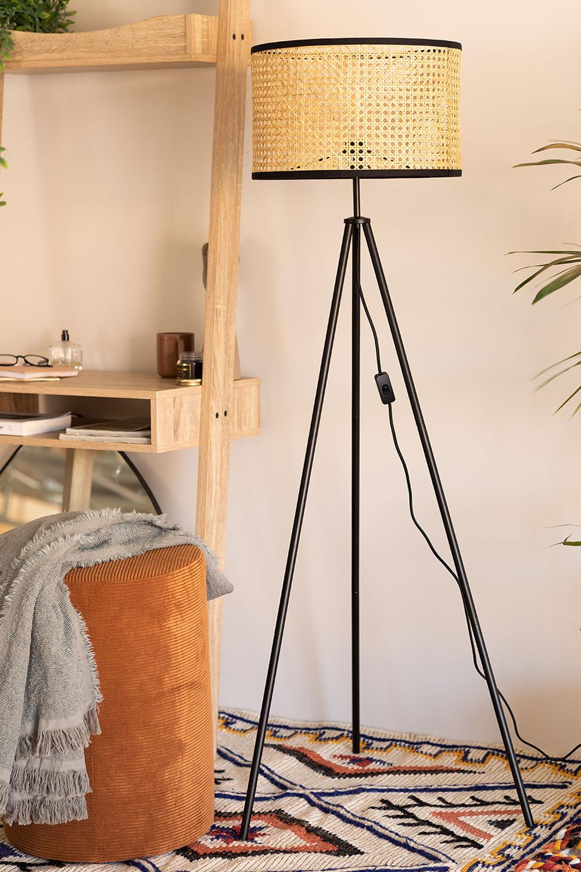 Metal &  Ratan Floor Lamp Elias , gallery image 1