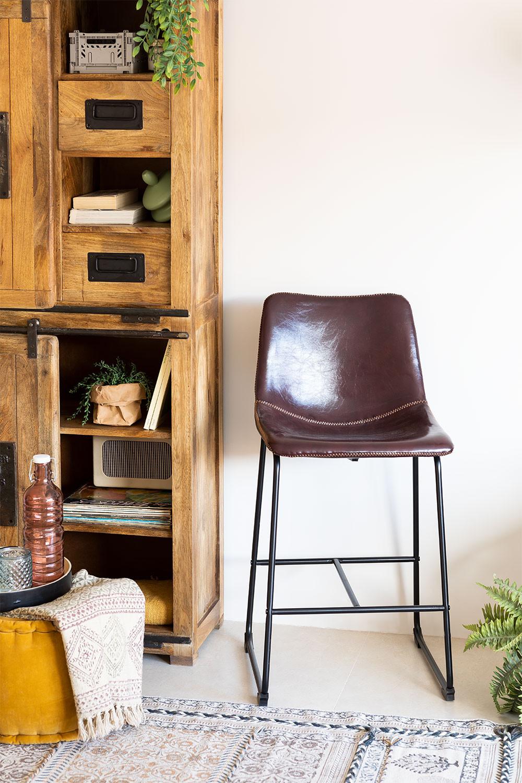 Medium Leatherette Stool Ody, gallery image 1