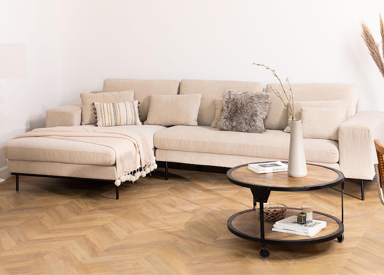 4 seater Chenilla Chaise Longue Sofa Agon , gallery image 1