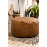 Round Leather Pouffe Tatta , thumbnail image 1