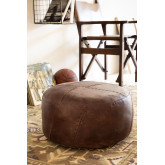 Round Leather Pouffe Mael , thumbnail image 1