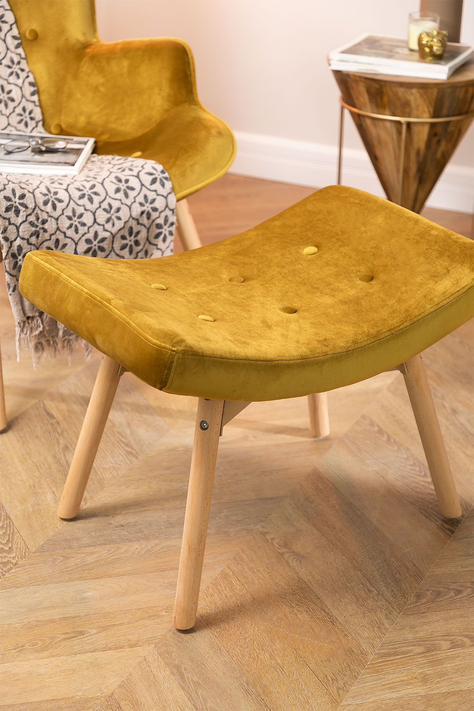 Velvet Upholstered Footstool Morris Edition, gallery image 1