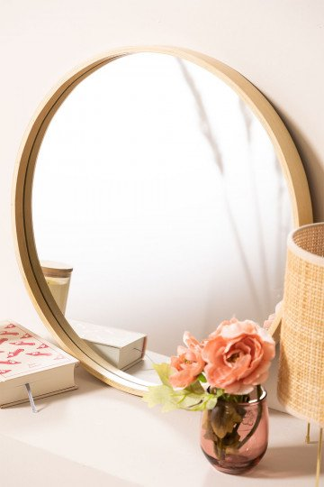 Round Wooden Wall Mirror Yiro