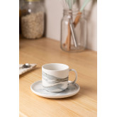 Set 4 Coffee Cups with plate in Porcelain Boira, thumbnail image 1