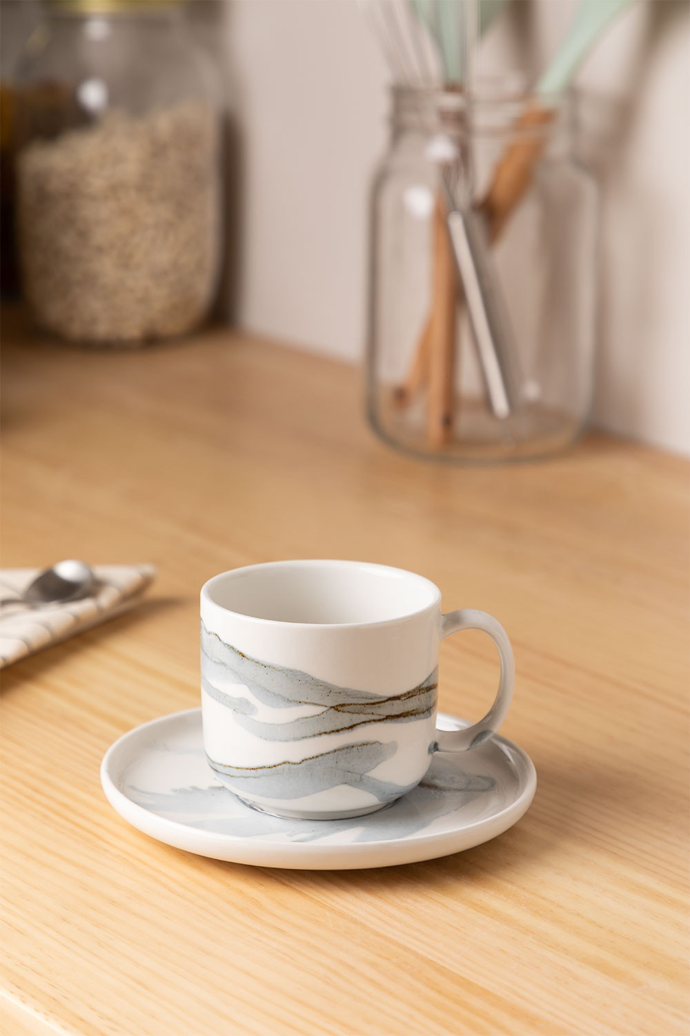 Set 4 Coffee Cups with plate in Porcelain Boira, gallery image 1