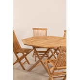 Set of Folding Garden Table and 4 Chairs in Teak Wood Pira, thumbnail image 3