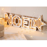 WOODEN SIGN WITH LED LIGHTS NOEL, thumbnail image 1