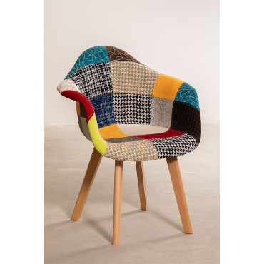Patchwork Upholstered Scand Nordic Dining Chair With Armrests Sklum
