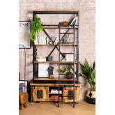 Recycled Wooden Bookcase with Ladder Uain , thumbnail image 1