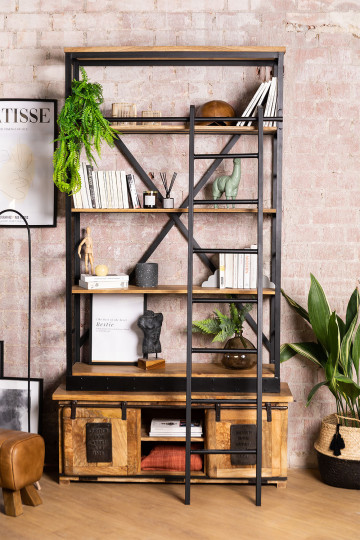 Recycled Wooden Bookcase with Ladder Uain