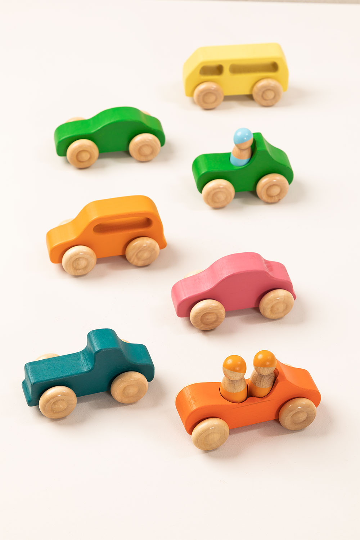 Rumi Kids Wooden Car Set of 7, gallery image 1