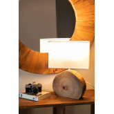Abura Wood and Fabric Table Lamp, thumbnail image 2