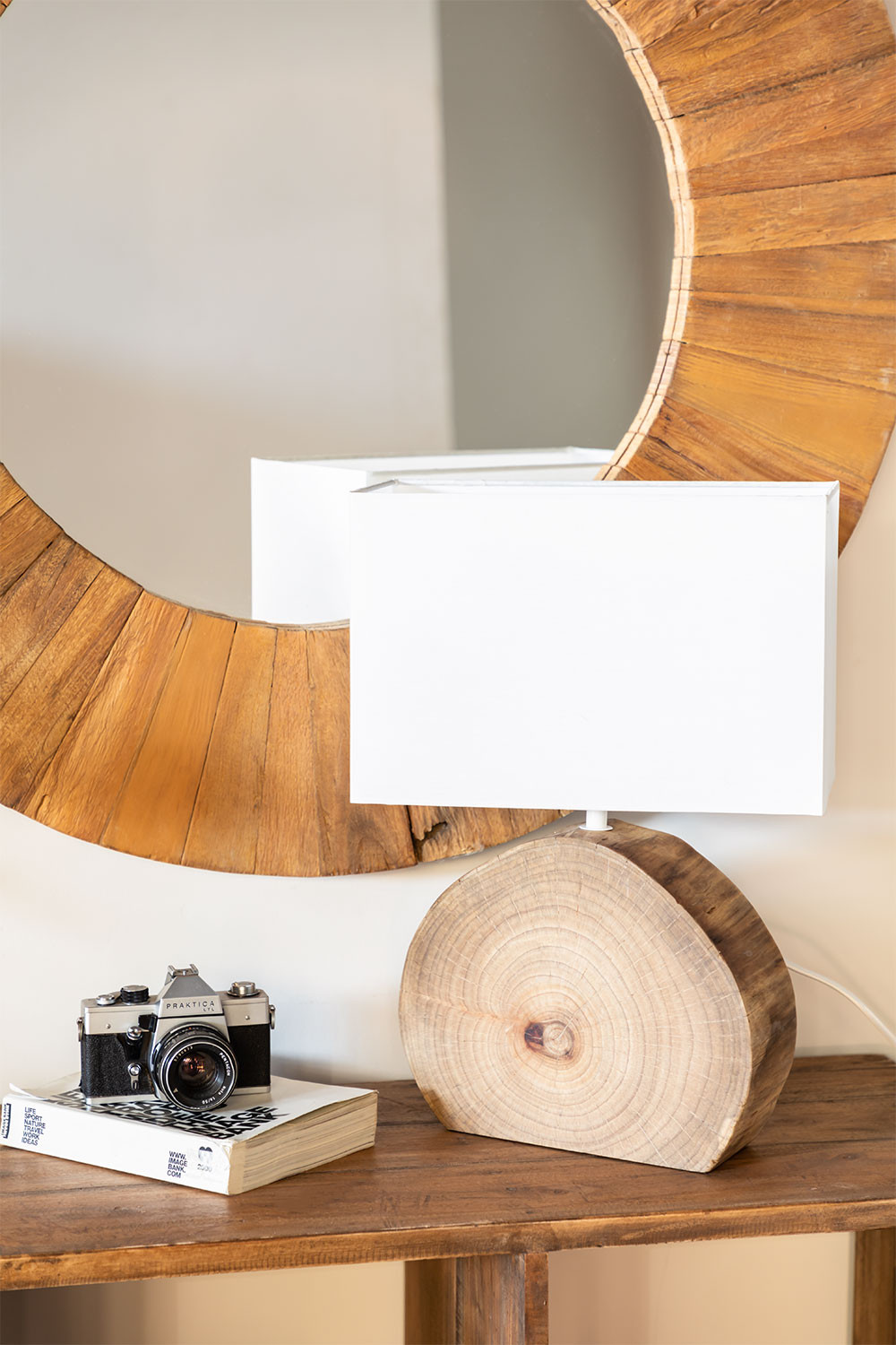 Abura Wood and Fabric Table Lamp, gallery image 1