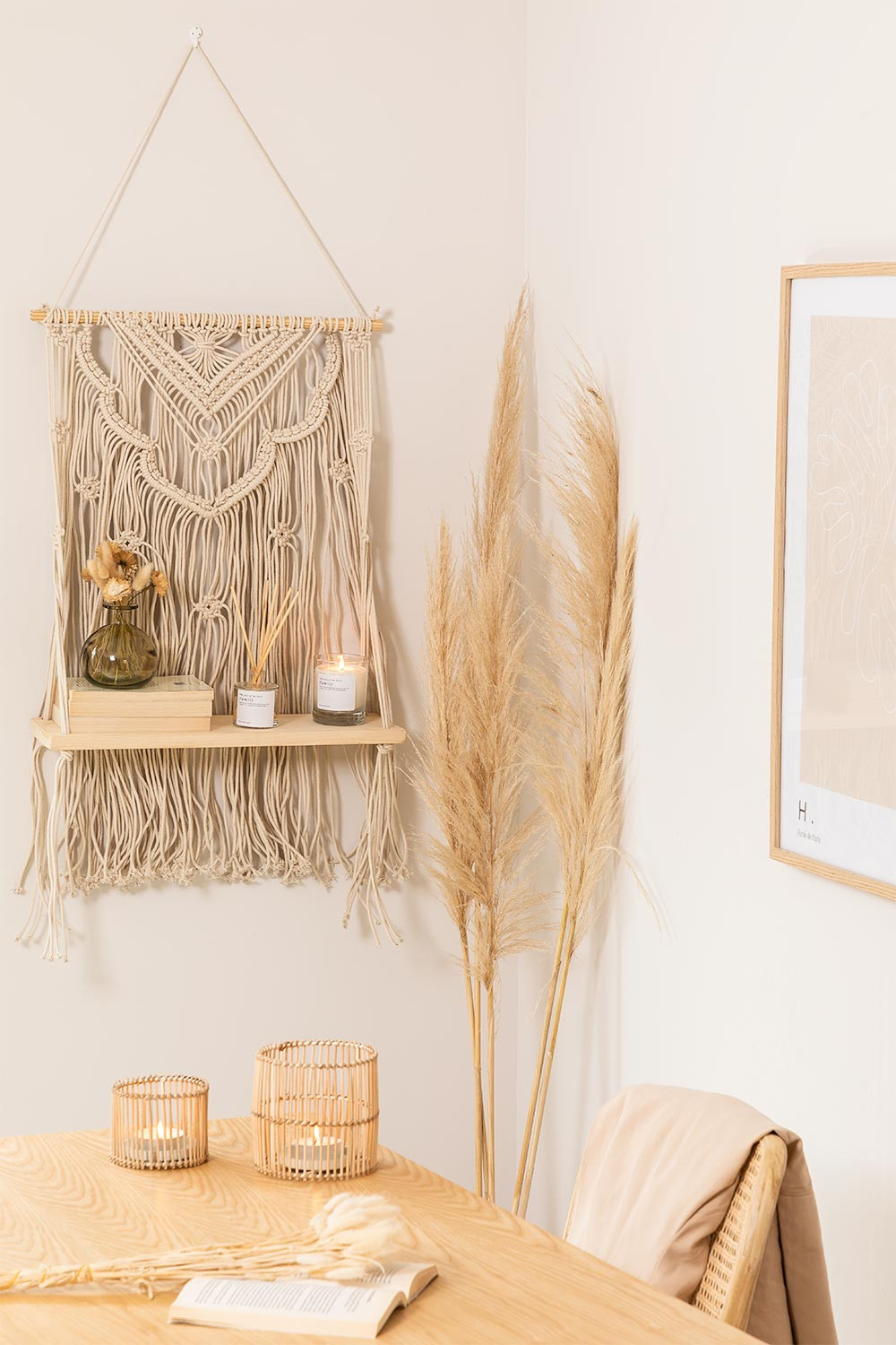 Tapestry with Wall Shelf in Cotton Beep, gallery image 1